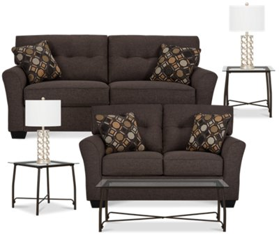 Laryn Dark Gray Microfiber 7 Piece Living Room Package Part 19