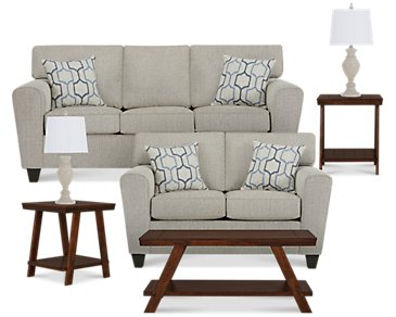Zoey Light Beige Microfiber 7-Piece Living Room Package