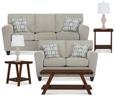Superior Zoey Light Beige Microfiber 7 Piece Living Room Package Part 21