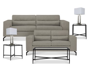 Knox Light Gray Fabric 7-Piece Living Room Package