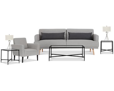 Sage Light Gray 7-Piece Living Room Package