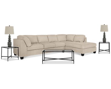 Mercer3 Light Taupe Right 6-Piece Living Room Package