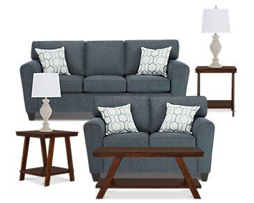 Zoey Dark Blue Microfiber 7-Piece Living Room Package