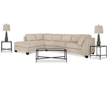 Mercer3 Light Taupe Left 6-Piece Living Room Package