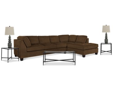 Mercer2 Dark Brown Right 6-Piece Living Room Package