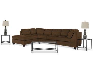 Mercer2 Dark Brown Left 6-Piece Living Room Package