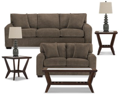 Adam Dark Brown Microfiber 7 Piece Living Room Package Part 15