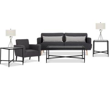 Sage Dark Gray 7-Piece Living Room Package
