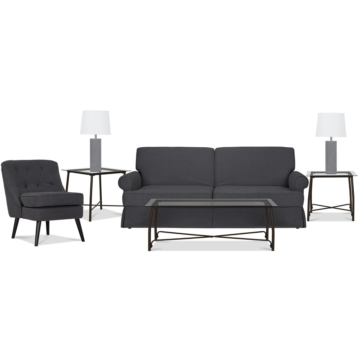 City Furniture: Owen Dark Gray 7-Piece Living Room Package