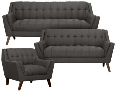 Brentwood Dark Gray Fabric Living Room