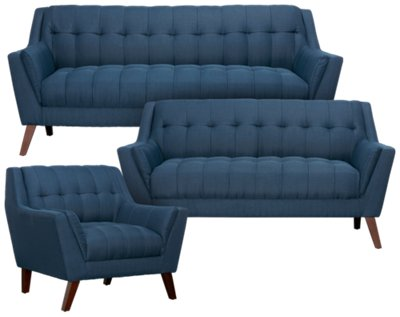 Brentwood Dark Blue Fabric Sofa. VIEW LARGER