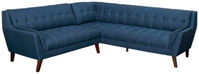 Brentwood Dark Blue Fabric Two Arm Sectional
