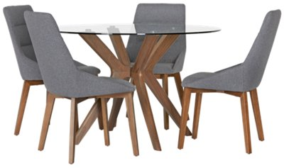 Fresno Gray Round Table U0026 4 Upholstered Chairs