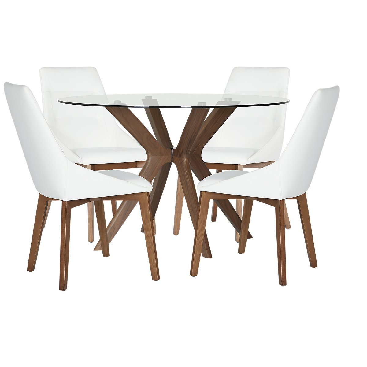 Fresno White Wood Table Amp 4 Upholstered Chairs