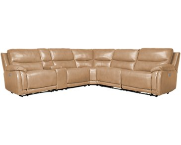Vince Taupe Leather & Vinyl Small Triple Power Reclining Two-Arm Sectional