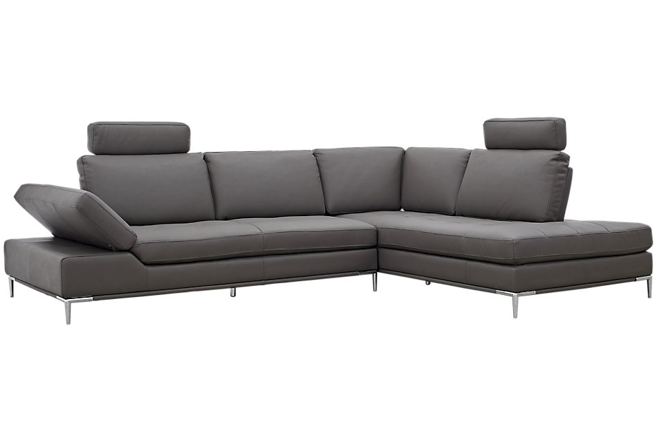 Camden Dark Gray  MICRO Right Chaise Sectional with Removable Headrest