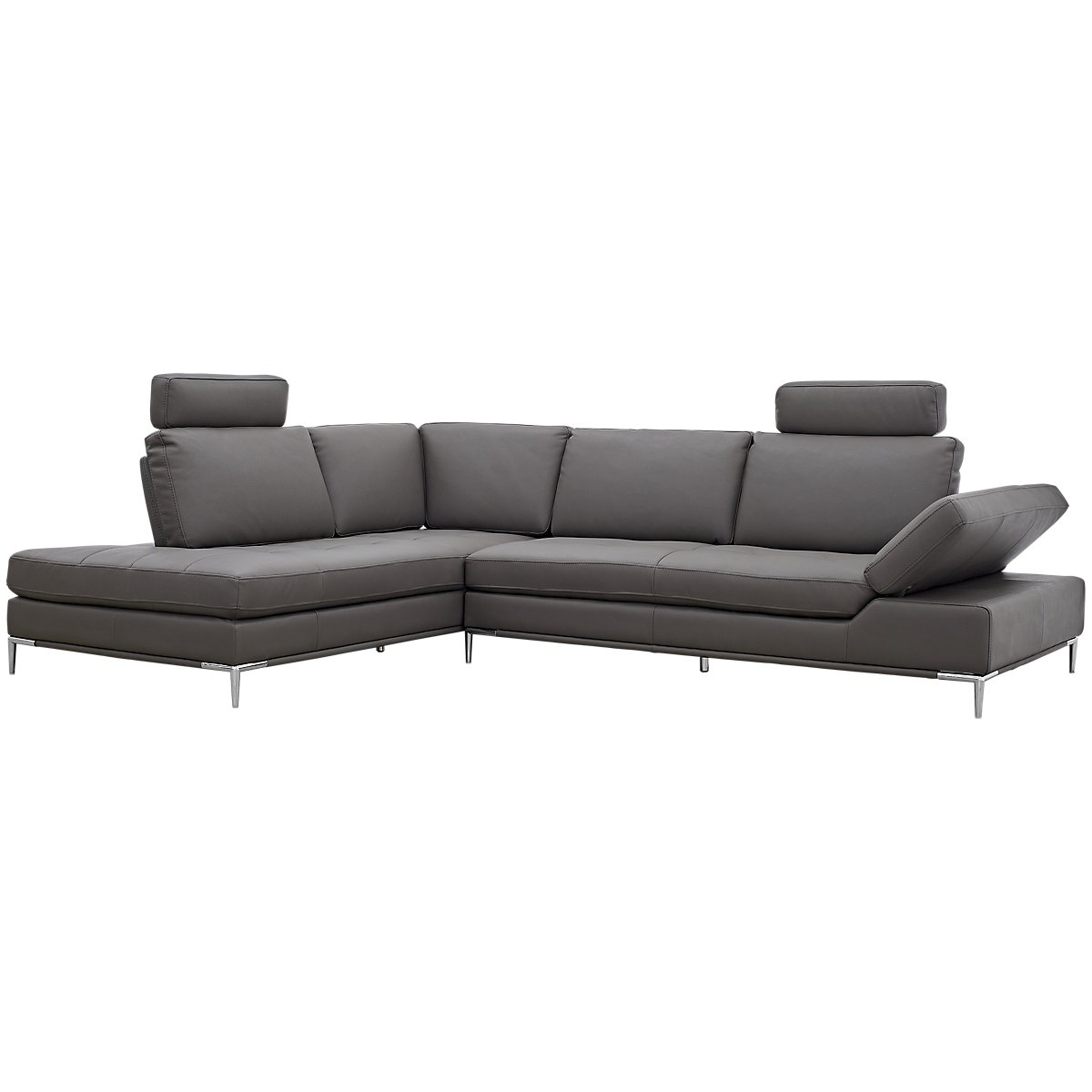 City furniture camden dark gray microfiber left chaise for Gray microfiber sectional sofa with chaise