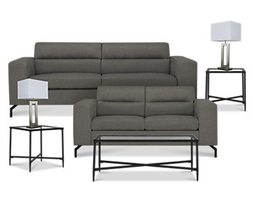 Knox Dark Gray Fabric 7-Piece Living Room Package