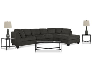 Mercer2 Dark Gray Right 6-Piece Living Room Package