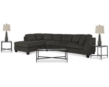 Mercer2 Dark Gray Left 6-Piece Living Room Package