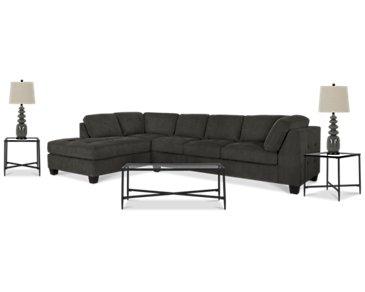 Mercer2 Dark Gray Left 6-Piece Living Room Package