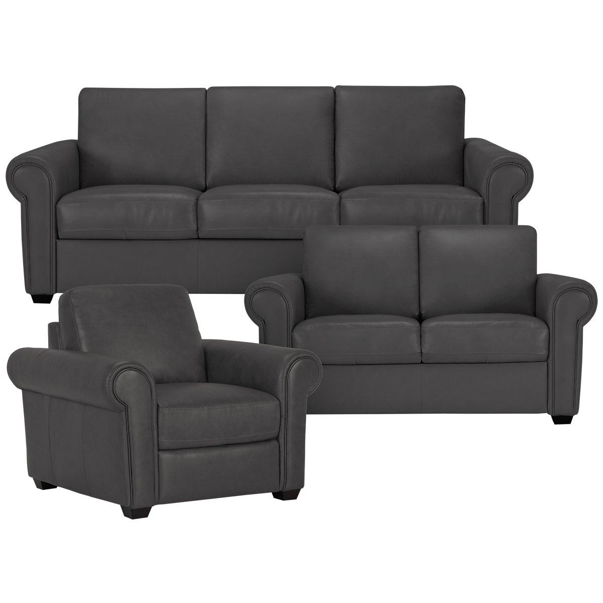 City Furniture Lincoln Dark Gray Leather Amp Vinyl Sofa