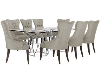 Argent Light Gray Rectangular Table & 4 Upholstered Chairs