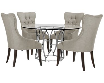 Argent Light Gray Round Table & 4 Upholstered Chairs