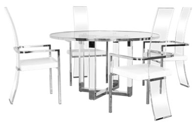 State Street Round Acrylic Round Table U0026 4 Upholstered Chairs