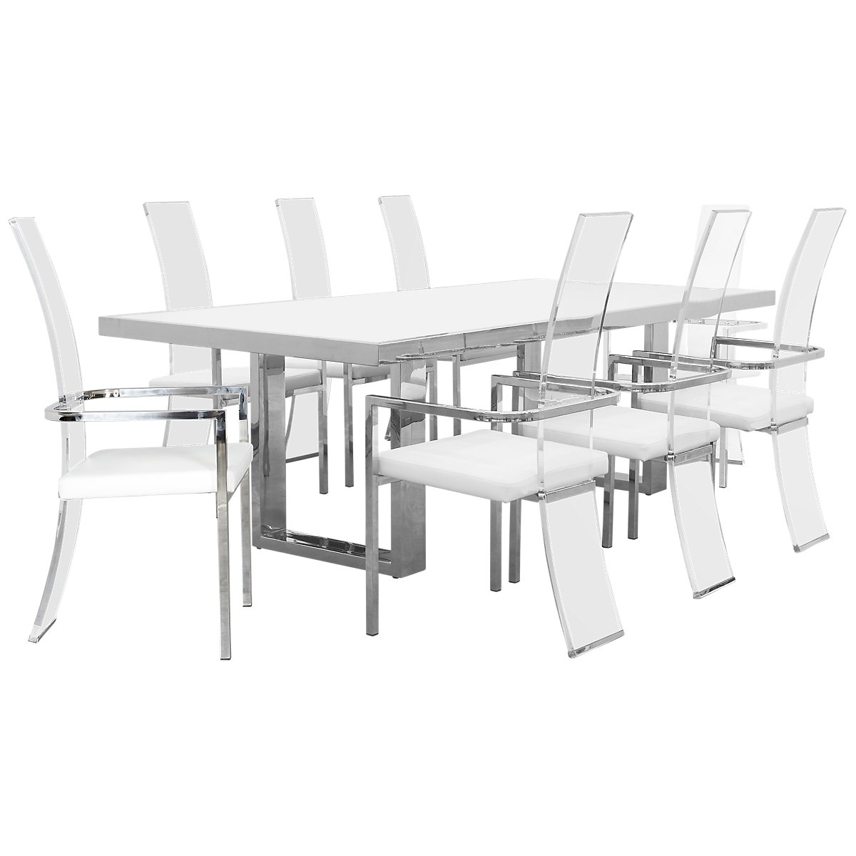 State Street Rectangular Acrylic Table & 4 Chairs