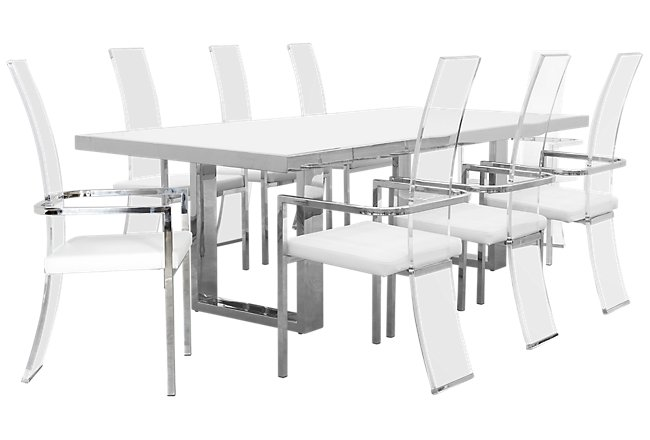 Fresno WHITE RECT Table & 4 Upholstered Chairs | Dining Room ...