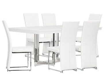 Cortina White Table & 4 Chairs