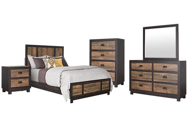 Harlington Dark Tone Wood Panel Bedroom Package