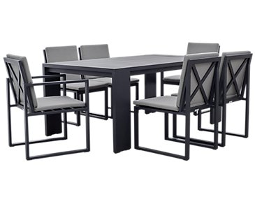 "Linear Dark Gray 70"" Aluminum Table & 4 Cushioned Side Chairs"