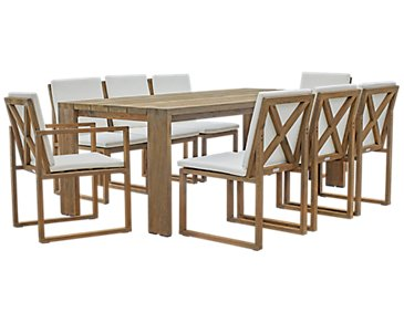 "Linear White 86"" Teak Table & 4 Teak Cushioned Side Chairs"