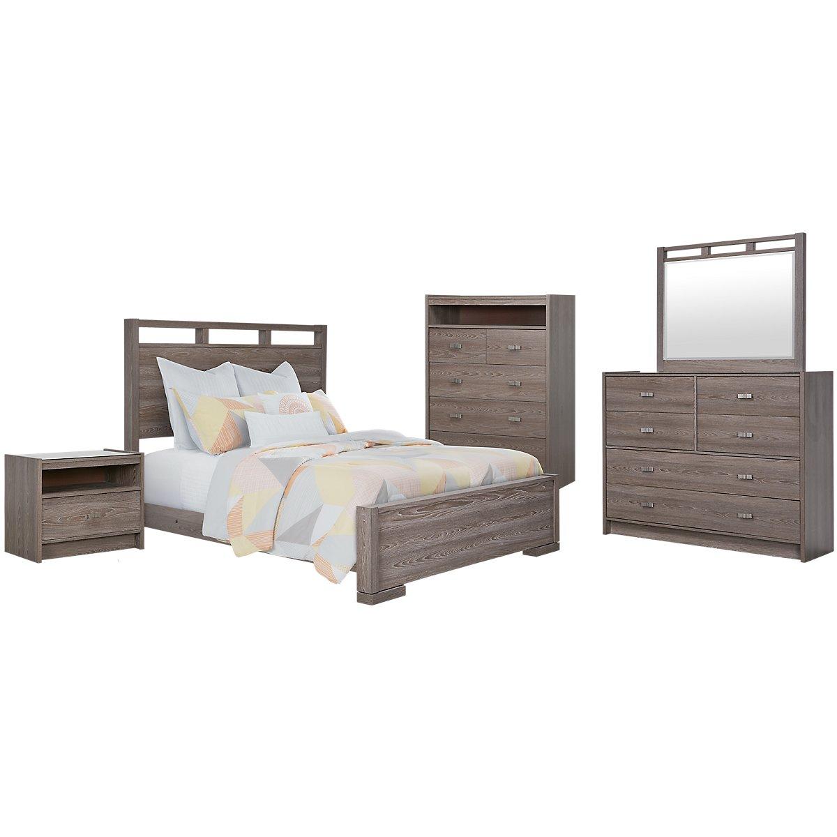 City Furniture: Sutton Dark Tone Panel Bedroom Package