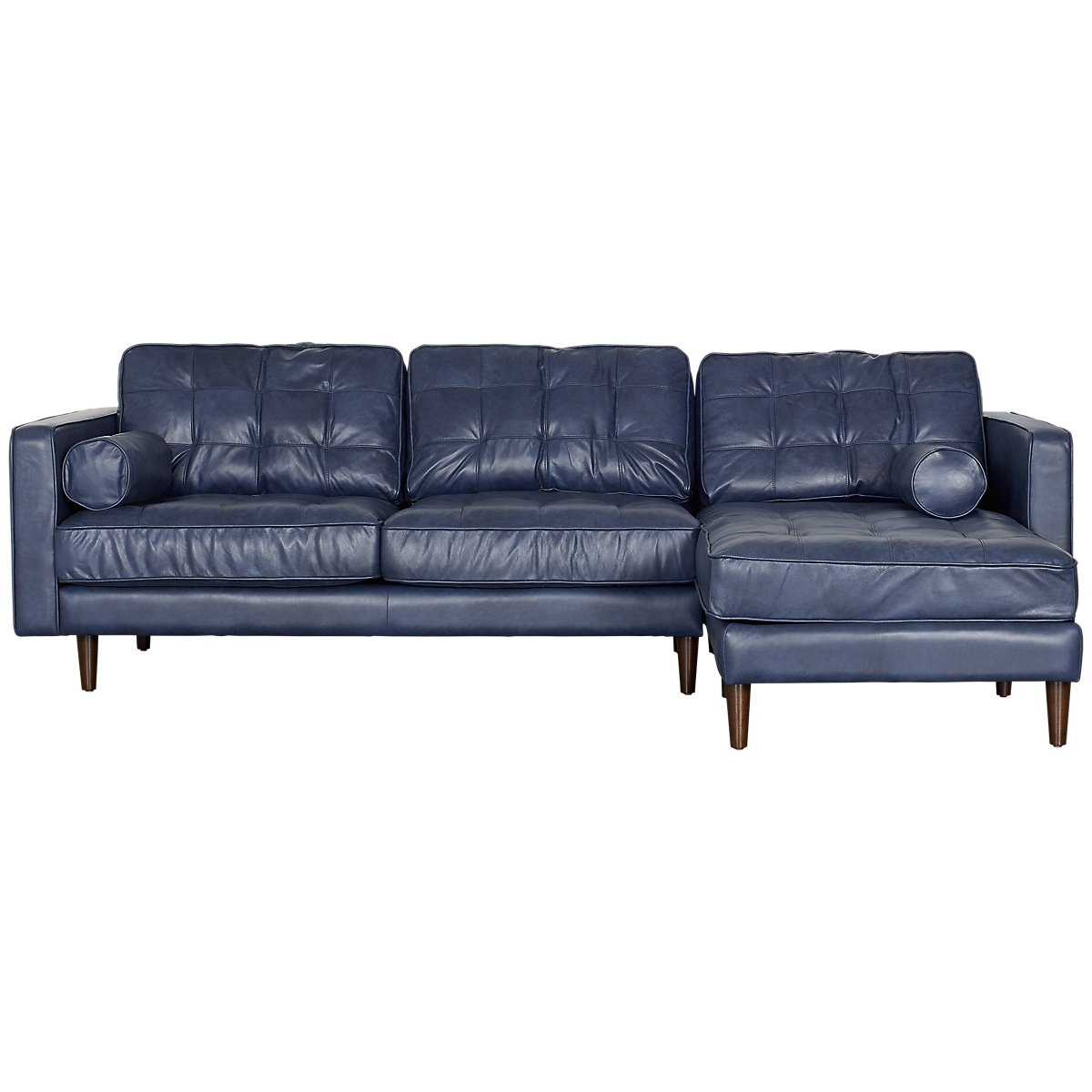 City Furniture: Encino Dark Blue Leather Right Chaise Sectional