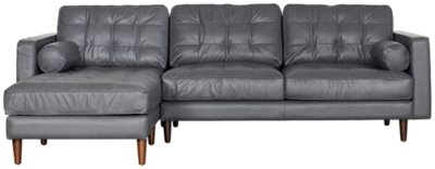 Ordinaire Encino Gray Leather Left Chaise Sectional