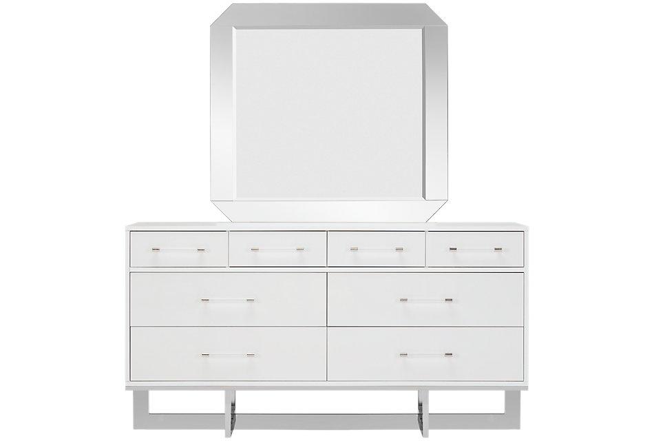 Cortina White Wood Dresser & Mirror | Bedroom - Dressers ...