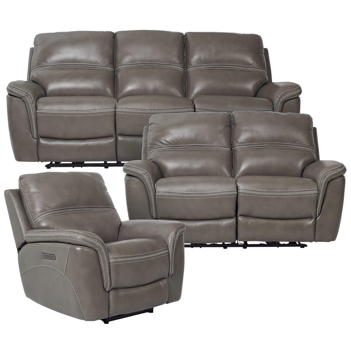 City Furniture Bryson Dark Gray Leather Power Reclining Sofa