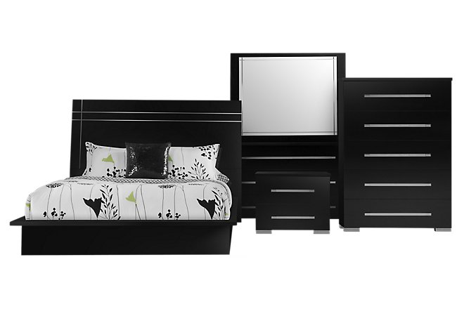 Dimora3 Black Wood Platform Bedroom Package