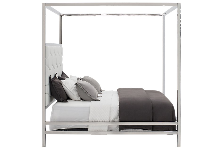 Cortina White Canopy Bed | Bedroom - Beds | City Furniture