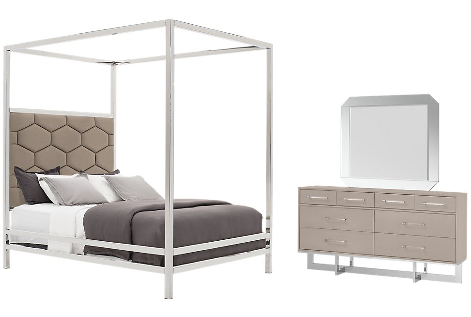 Cortina Champagne Canopy Bedroom | Bedroom - Bedroom Sets ...