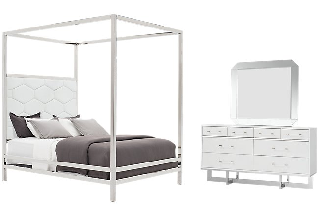 Cortina White Canopy Bedroom