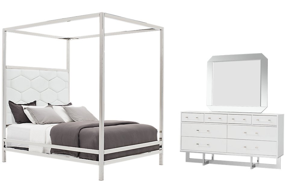 Cortina White Canopy Bedroom   Bedroom - Bedroom Sets   City ...