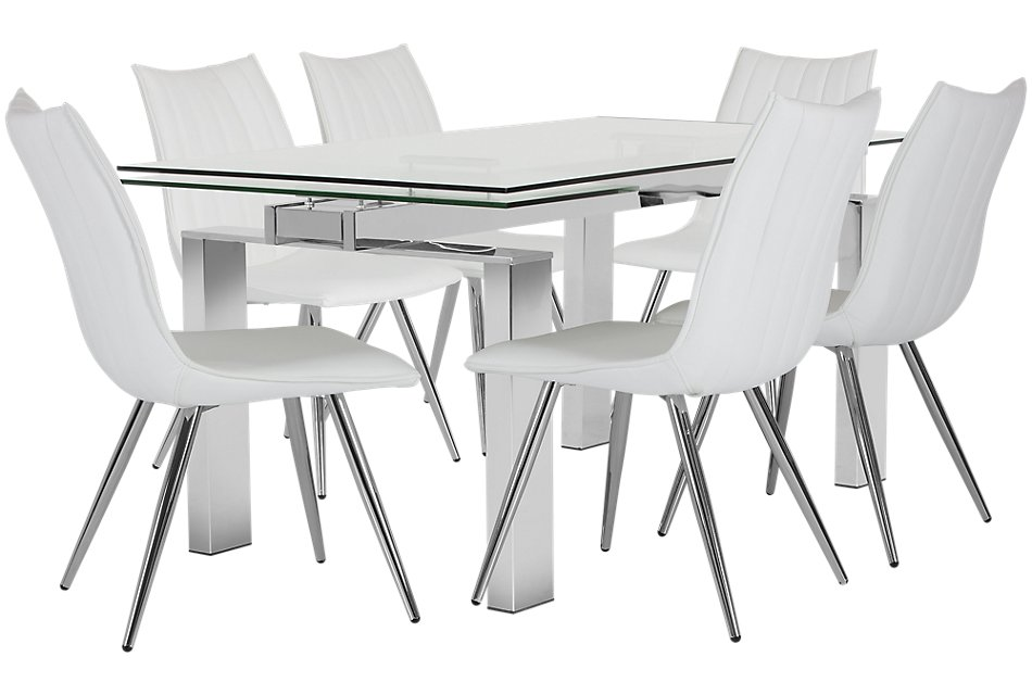 Wynwood WHITE METAL Table & 4 Upholstered Chairs | Dining ...
