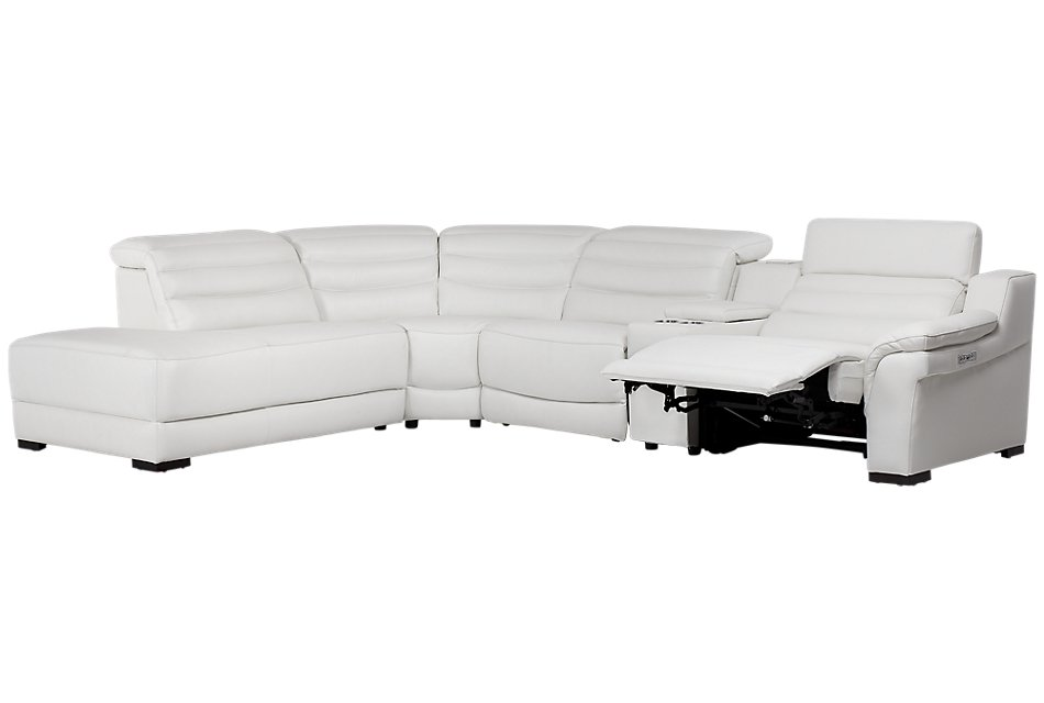 Sentinel WHITE LTHR/VINYL Medium Left Bumper Power Sectional