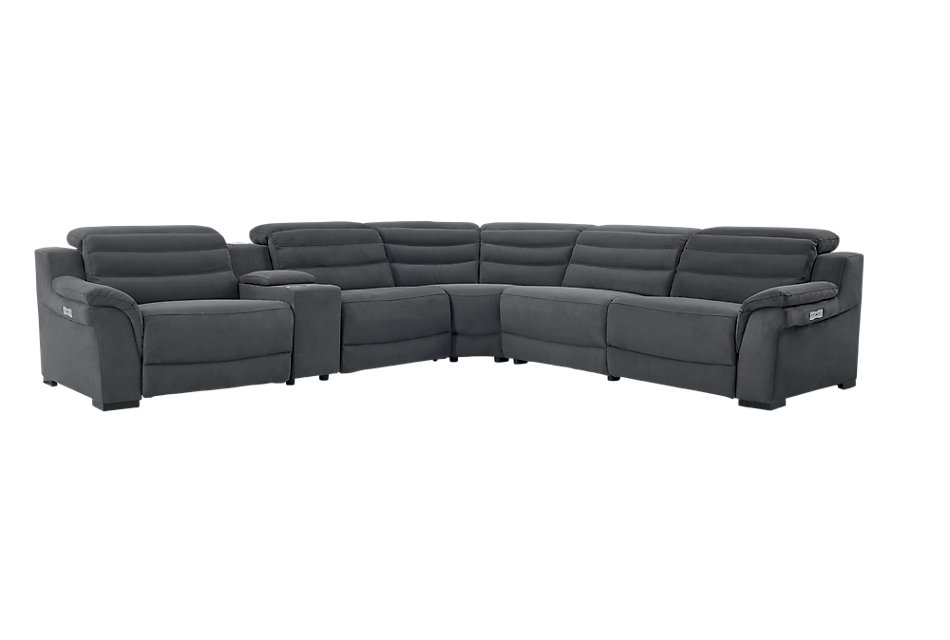 Sentinel Dark Gray  MICRO Medium Triple Power Sectional with Music Console
