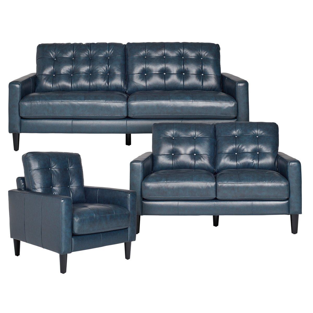 Finley Dark Blue Leather & Vinyl Living Room | Living Room - Living Room Sets | City Furniture