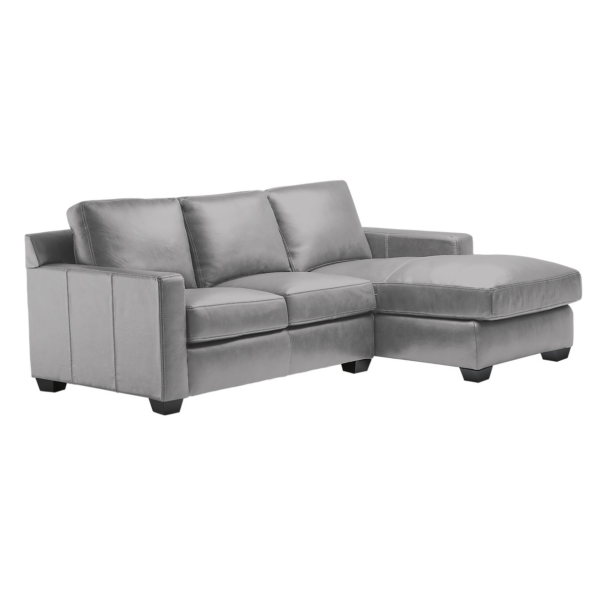 Carson Gray Leather Right Chaise Sectional | Living Room ...